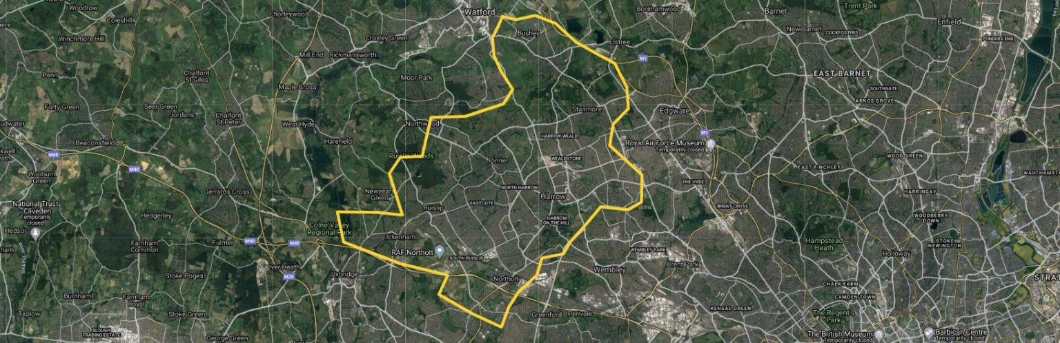 Map of Harrow & Bushey where Really Awesome Coffee Harrow are offering home deliveries to