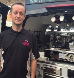 Ian in Hemel Hempstead in front of his mobile cafe