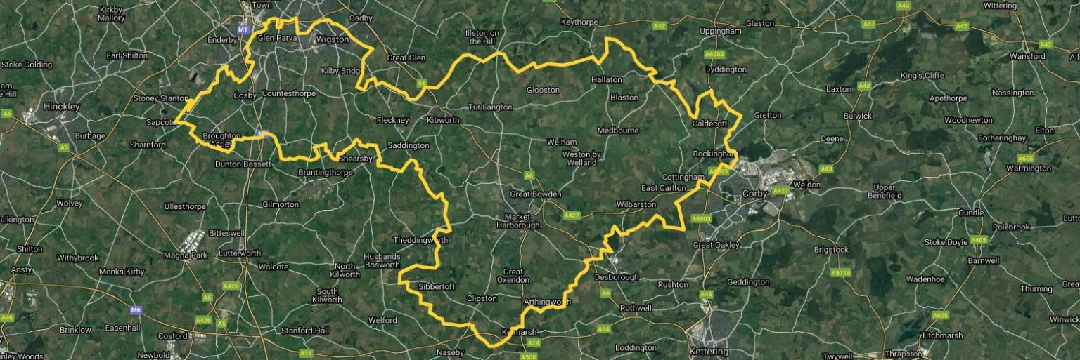 A map of east Leicestershire showing Really Awesome Coffee Leicester East area for home delivery