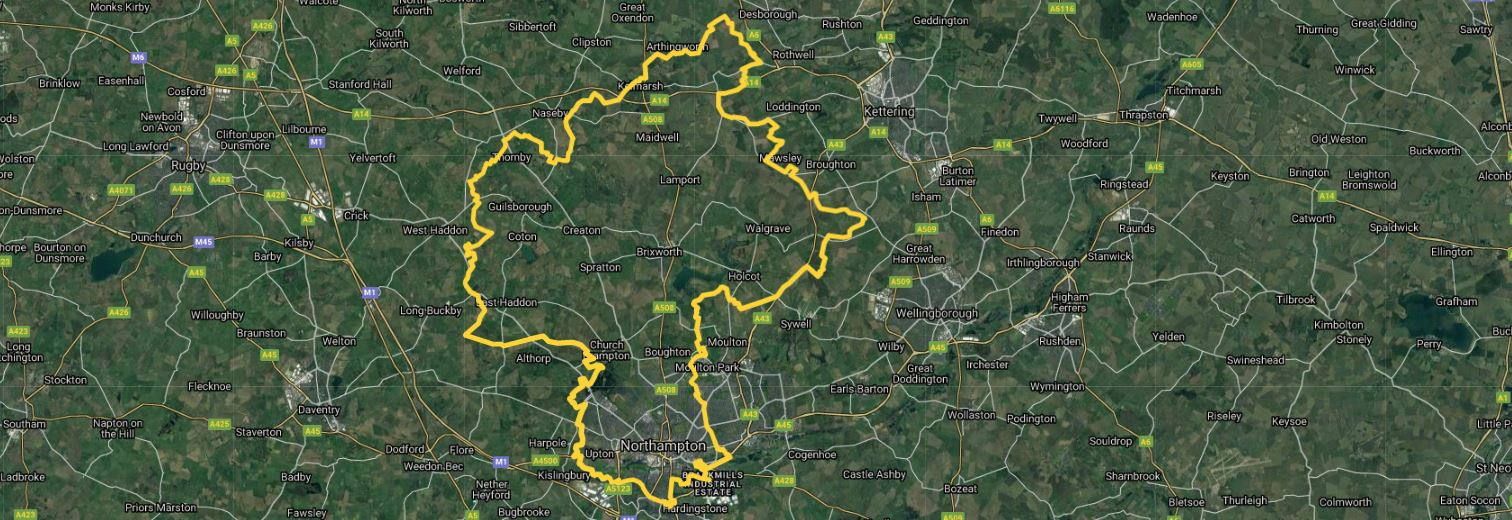 A map of Northamptonshire showing Really Awesome Coffee Northampton West area for home delivery