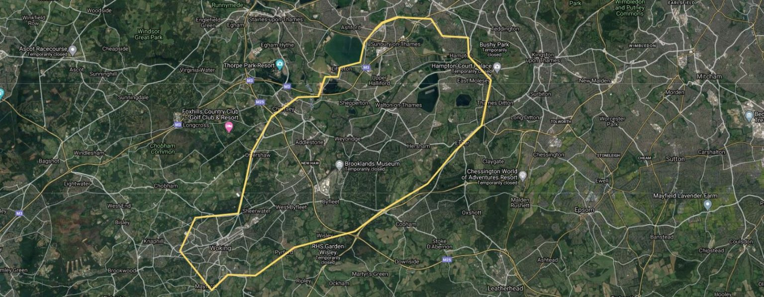 A map showing where Really Awesome Coffee deliver to. Home deliveries to Sunbury on Thames, shepperton, weybridge, Woking & Colnbrook